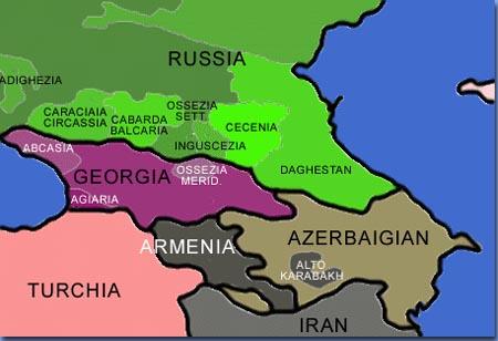 mappa caucaso della guerra per gli osseti