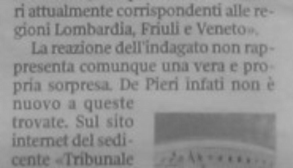 Corriere della Sera veneto 6 ottobre 2009. Articolo per l
