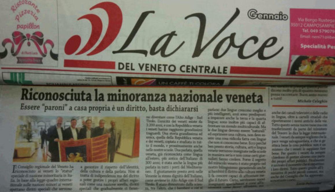 Voce del Veneto Centrale – articolo sulla Minoranza Nazionale Veneta