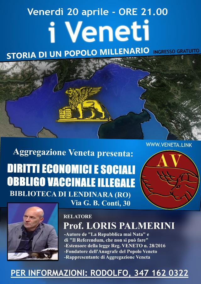Serata informativa a Lendinara (RO) sui Veneti, diritti economici, sociali e l'obbligo vaccinale illegale